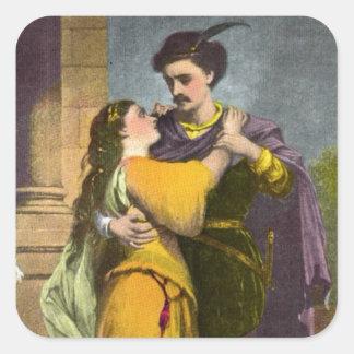 Romeo y Juliet Calcomanías Cuadradas Personalizadas