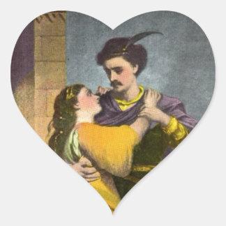 Romeo y Juliet Pegatina En Forma De Corazón