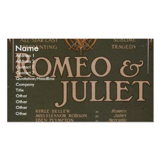 """Romeo y Juliet, teatro retro de """"Liebler y del Co"""" Tarjetas De Visita"""