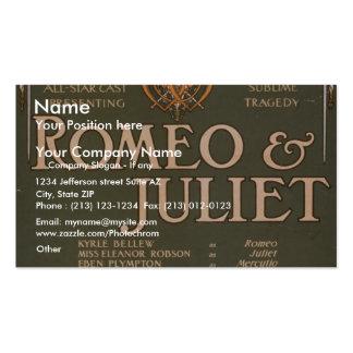 """Romeo y Juliet, teatro retro de """"Liebler y del Co"""" Tarjeta De Visita"""