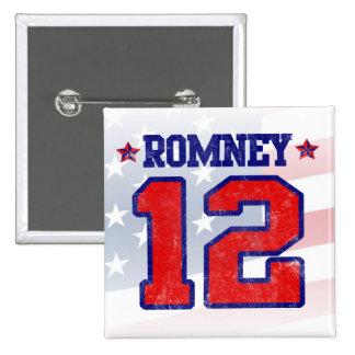 Romney '12, diseño del deporte del equipo pin cuadrado