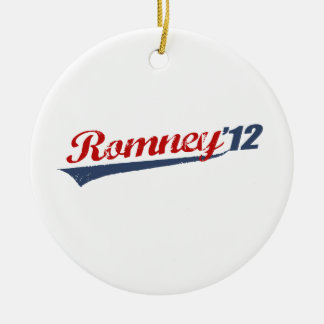 ROMNEY '12 LOGO Double-Sided CERAMIC ROUND CHRISTMAS ORNAMENT
