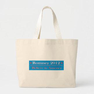 Romney 2012 - Believe in America Large Tote Bag