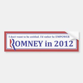 ROMNEY 2012 bumper sticker Car Bumper Sticker