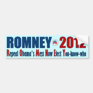 Romney 2012 - El lío de Obama de la derogación aho Etiqueta De Parachoque
