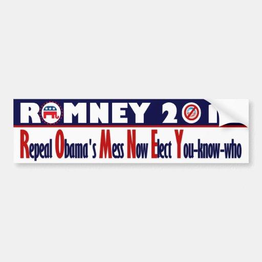 Romney 2012 - El lío de Obama de la derogación aho Pegatina De Parachoque