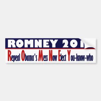 Romney 2012 - El lío de Obama de la derogación aho Pegatina Para Auto