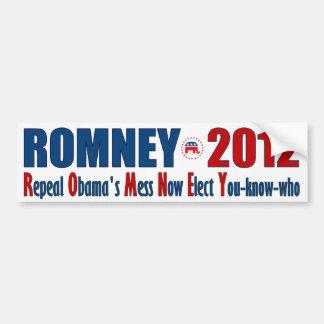 Romney 2012 - El lío de Obama de la derogación Pegatina Para Auto