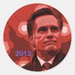Romney 2012 etiquetas redondas