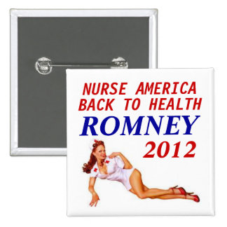 ROMNEY 2012 NURSE 2 INCH SQUARE BUTTON