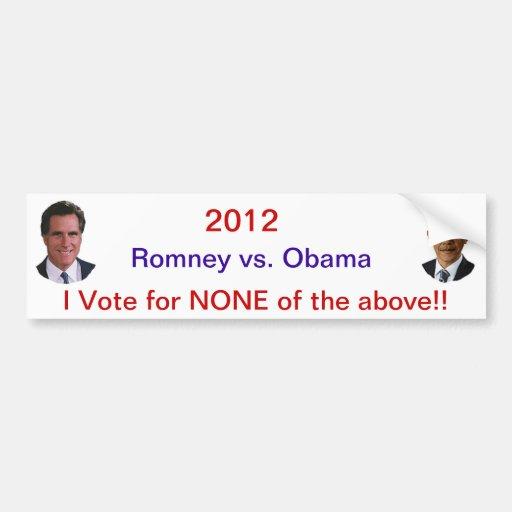 Romney 2012 Obama Pegatina Para Auto