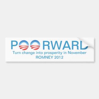 Romney 2012 - Poorward si reeligen a Obama Etiqueta De Parachoque
