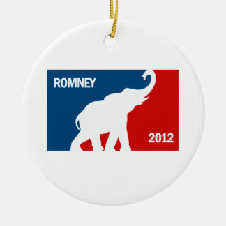 ROMNEY 2012 PRO Double-Sided CERAMIC ROUND CHRISTMAS ORNAMENT