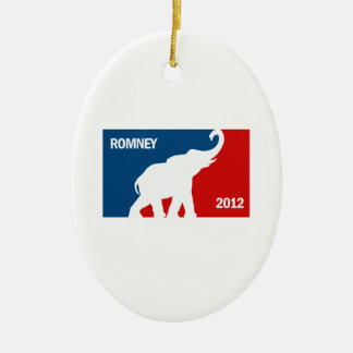 ROMNEY 2012 PRO Double-Sided OVAL CERAMIC CHRISTMAS ORNAMENT