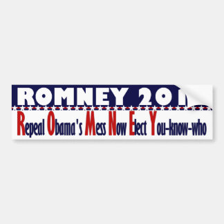 Romney 2012 - Repeal Obama's Mess Now Car Bumper Sticker