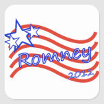 Romney 2012 Stripes With 3 Stars Square Stickers