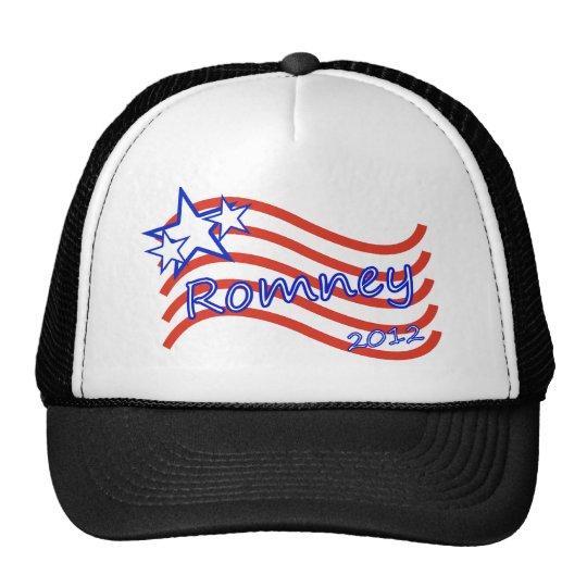 Romney 2012 Stripes With 3 Stars Trucker Hat