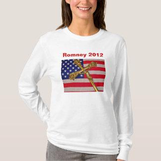Romney 2012 US Flag and Crucifix T-Shirt