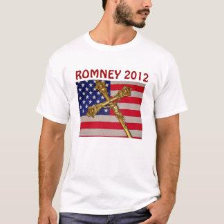 ROMNEY 2012 USA Flag and Crucix T-Shirt