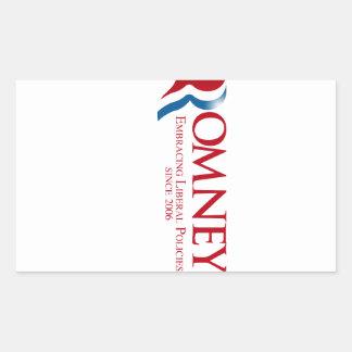 Romney - abrazando políticas liberales desde 2006 rectangular pegatina