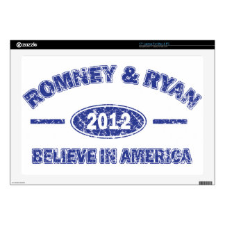 Romney and Ryan Believe in America Decals For Laptops