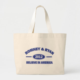 Romney and Ryan Believe Large Tote Bag