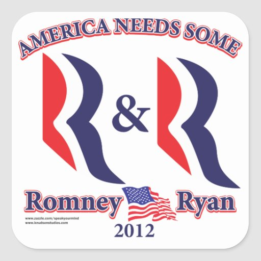 Romney and Ryan Square Sticker