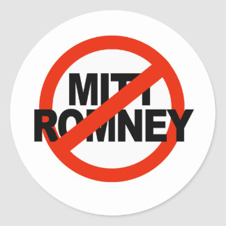 Romney anti Circle.png cruzado Pegatina Redonda