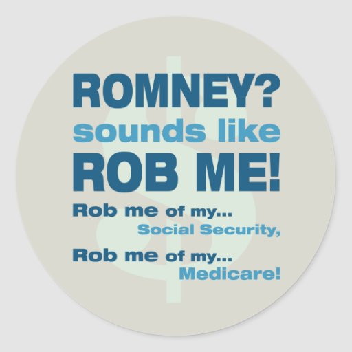 """Romney anti """"Romney me suena como Rob!"""" Político Pegatina Redonda"""