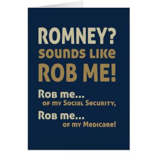 """Romney anti """"Romney me suena como Rob!"""" Político Tarjetón"""