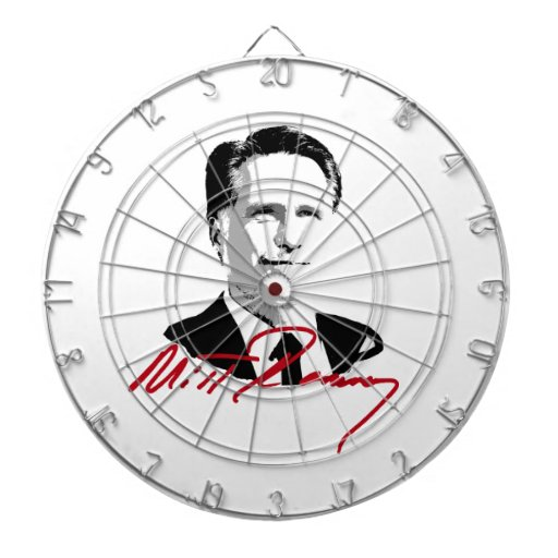 ROMNEY AUTOGRAPH RED DARTBOARD WITH DARTS