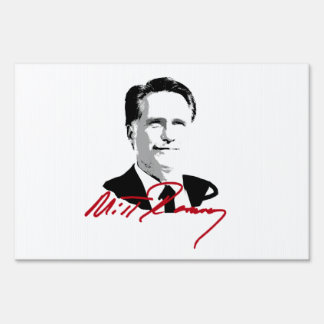 ROMNEY AUTOGRAPH RED LAWN SIGN
