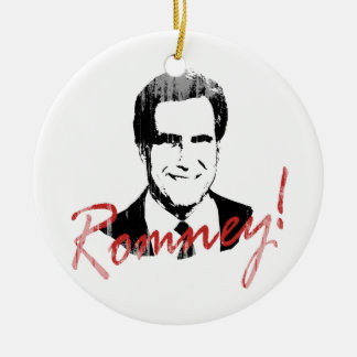 Romney Autographed Picture.png Double-Sided Ceramic Round Christmas Ornament