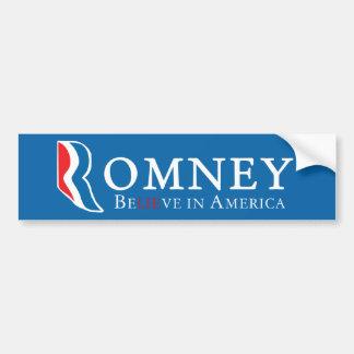 Romney: BeLIEve in America Car Bumper Sticker
