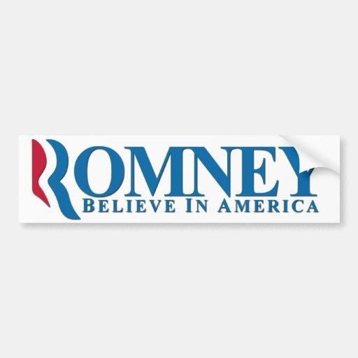Romney - Believe In America Car Bumper Sticker