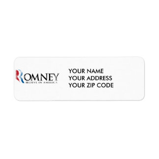 Romney - Believe in America Return Address Label