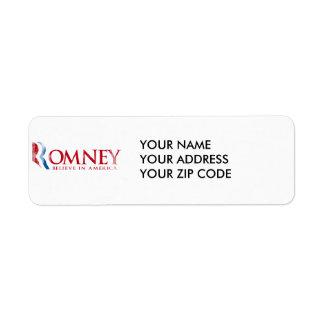 Romney - Believe in America (red) Return Address Label