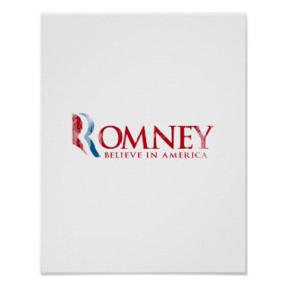 Romney - Believe in America (red) Poster
