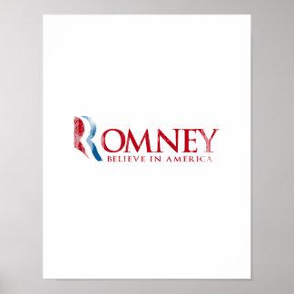 Romney - Believe in America (red) Posters