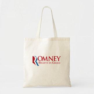 Romney -  Believe in Greed Tote Bags