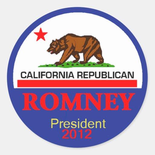 Romney CALIFORNIA Round Sticker