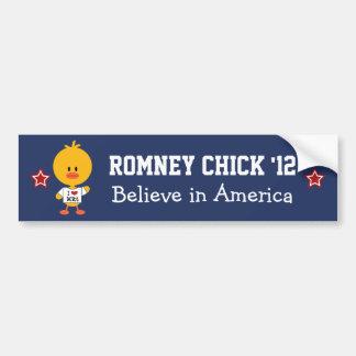 Romney Chick 12 Bumper Sticker Believe in America