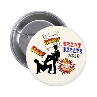 Romney contra el discusión presidencial de Obama Pins