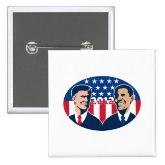 Romney contra las elecciones americanas 2012 de Ob Pin Cuadrada 5 Cm
