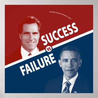 Romney contra Obama - éxito contra el poster del f