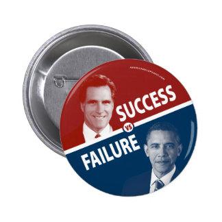 Romney contra Obama - éxito contra fracaso Pin Redondo 5 Cm