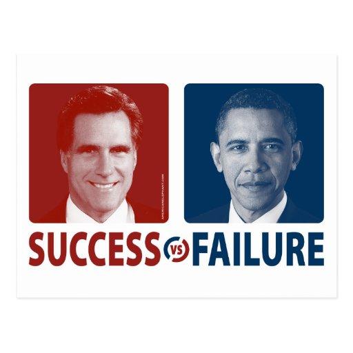 Romney contra Obama - éxito contra fracaso Postal