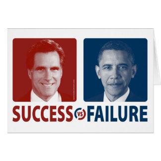Romney contra Obama - éxito contra fracaso Tarjeton