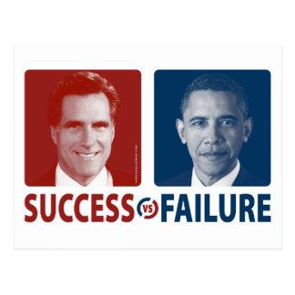 Romney contra Obama - éxito contra fracaso Tarjetas Postales