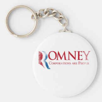 Romney - Corporations are People.png Basic Round Button Keychain